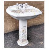 Floral Decorated Pedestal Basin/Sink