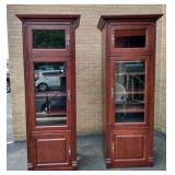 "Pair ""JSP"" illuminated glass door shelves/cabinets"