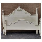 White King Size Carved Head & Foot Board