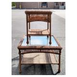 Wicker & Glass Top Coffee & End Stand