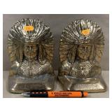 Cast iron Native American book ends