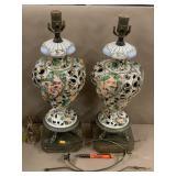 Pair of Capodimonte lamps w/harps