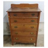 Tall oak 5 drawer chest