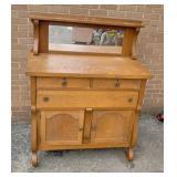 Oak 3 drawer chest w/mirror