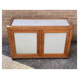Oak trimmed utility shelf w/handles
