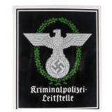 German Third Reich Kripo Police Enamel Sign
