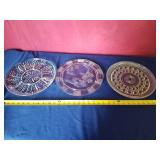 3 clear serving platters