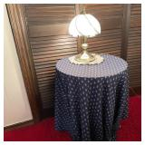 Round Table w/Cover, Touch Lamp, & Doily