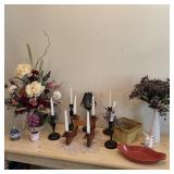 Floral & Candle Decor w/ Adjustable Wood Candle