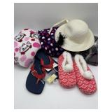 Ladies Fleece Pajama Pants, House Shoes, Hat,