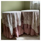 2 Round Side Tables with Covers