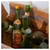 Box of vintage Wine Bottles