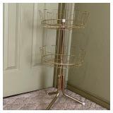 Vintage 2 Tier Rotating Floor Wire Basket