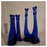 2 Glass Blue Candle Holders