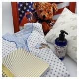 Teddy Bear Tray, Flannel Nightshirt, Peppermint