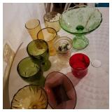Lot of Vintage Stained Glass Cups and Bowls