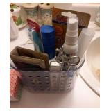 Bathroom Lot in Clear Plastic Basket