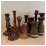 11 Wood Candle Holders