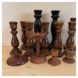 13 Wood Candle Holders