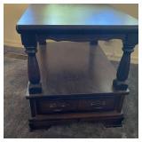 Vintage Dark Wood Side Table w/Drawer