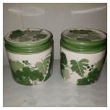 2 Hand Painted Green Jars
