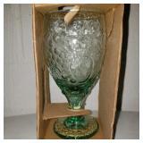Vintage Spanish Green Wine Glass