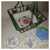 Decorative Countertop Basket w/ Pottery