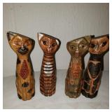 Vintage Hand Carved Wooden Cats