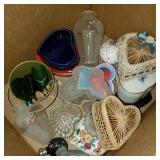 Box of Vintage Perfume Bottles and Hearts