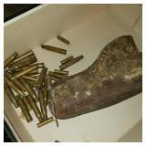 Box of Bullet Shells and Vintage Pistol Holster