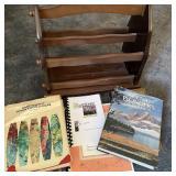 Wood Magazine Rack w/Books