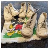 3 Pair Vintage Leather Baby Shoes w/Mickey Mouse