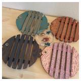 5 Fish Shape Trivets, 4 Wood, 1 Resin
