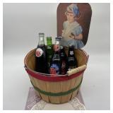 Vintage Sodas in Basket w/fan