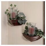 Wall Shelf w/Candle & Silk Ivy