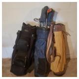 Set of 3 Vintage Golf Caddies w/ Clubs