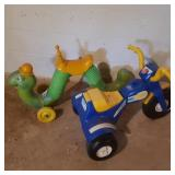 2 vintage Children Ridable Trike and Worm