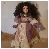 Vintage Porcelain Doll in Purple/White Dress