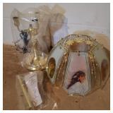 Vintage Glass Native American Lamp