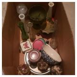 Box of Misc Glass Items and Coasters