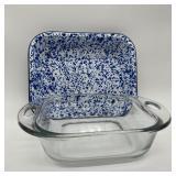 Anchor Hocking w/Blue & White Spatterware Pan