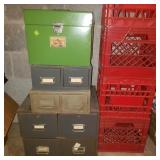 Lot of Storage Cabinets and Plastic Bins