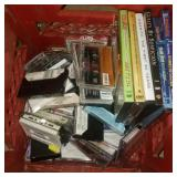 Red Box of Cassettes and DVDs