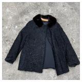 Vintage Black Persian Curly Lamb Wool Coat w/Mink