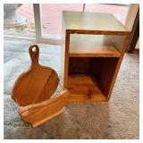 Wood Counter Shelf & Wood Skillet Shaped Item