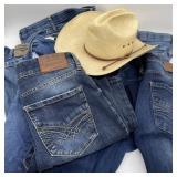 7 Pair Jeans, Wrangler & Seven w/Resistol Hat