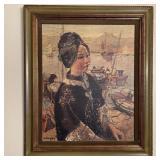 Vintage Lady of Samurai Oriental Print