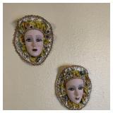 2 Porcelain Mask Wallhangings