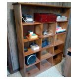 Wood Bookshelf and Contents