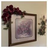 Framed Print w/Silk Flowers & Candles Wall Decor